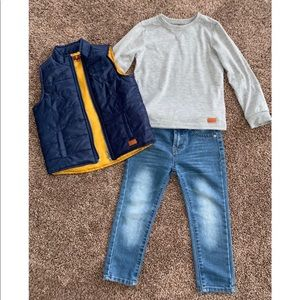 EUC 7 for all mankind 3T boy vest, shirt & jeans